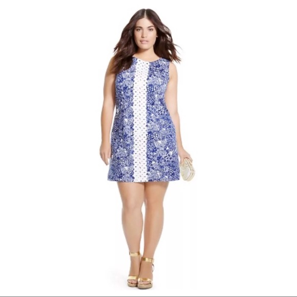 Lilly Pulitzer Shift Dress Plus Size 18 Blue White